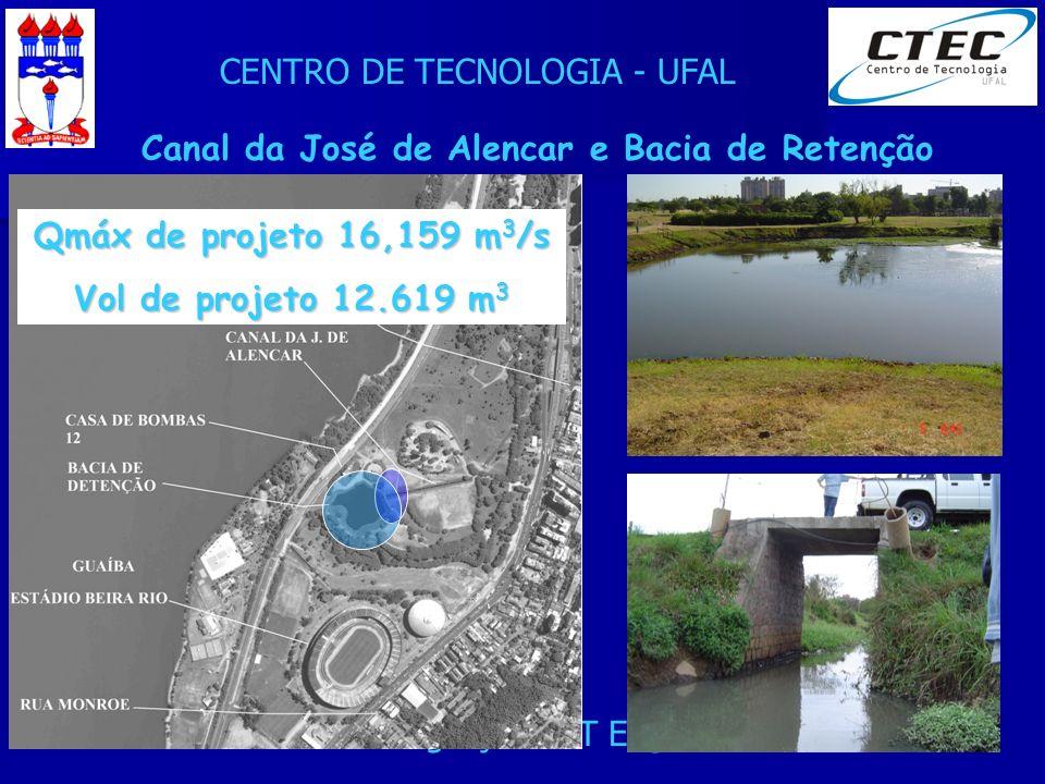 CENTRO DE TECNOLOGIA - UFAL XXIV Seminário de Integração PET Eng. Civil - 24/08/2007 Canal da José de Alencar e Bacia de Retenção Qmáx de projeto 16,1
