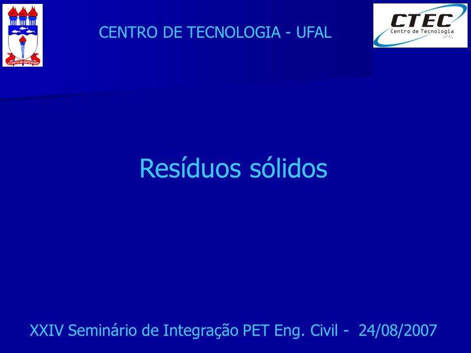 CENTRO DE TECNOLOGIA - UFAL XXIV Seminário de Integração PET Eng. Civil - 24/08/2007 Resíduos sólidos