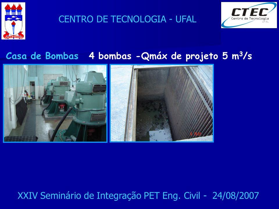 CENTRO DE TECNOLOGIA - UFAL XXIV Seminário de Integração PET Eng. Civil - 24/08/2007 Casa de Bombas4 bombas -Qmáx de projeto 5 m 3 /s