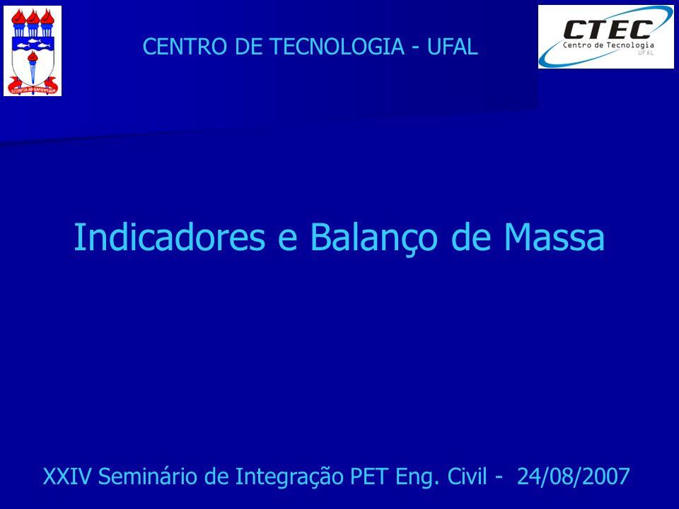 CENTRO DE TECNOLOGIA - UFAL XXIV Seminário de Integração PET Eng. Civil - 24/08/2007 Indicadores e Balanço de Massa