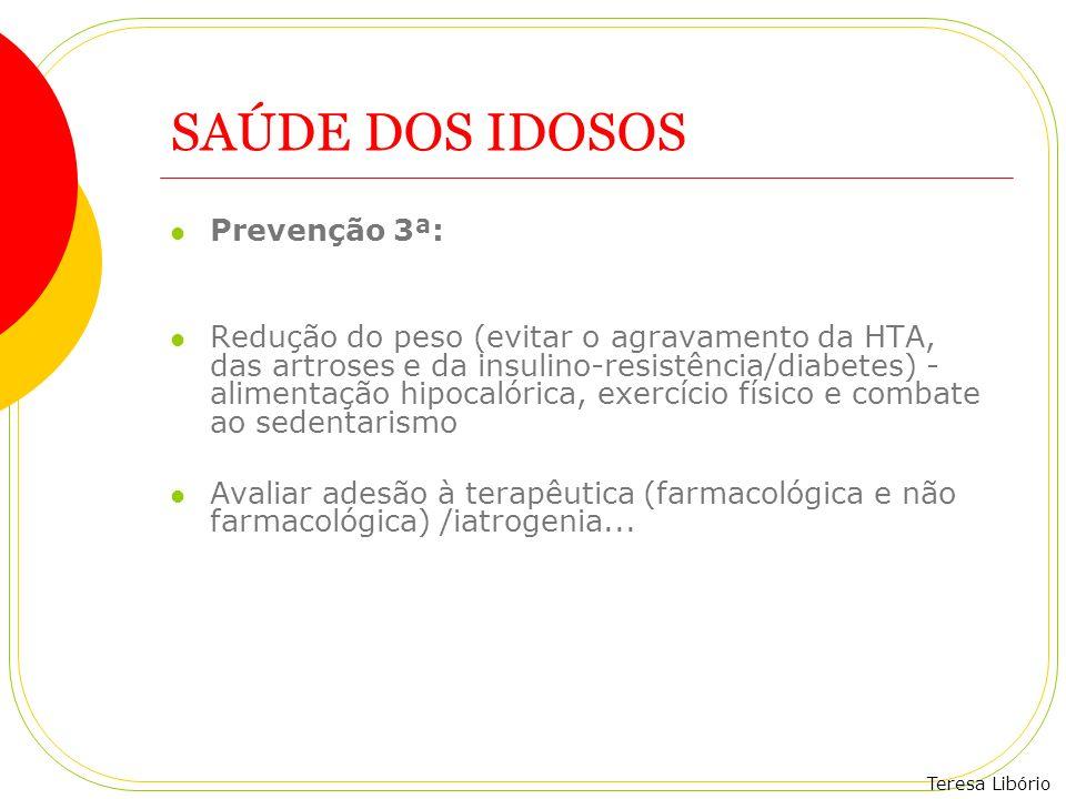 Teresa Libório SAÚDE DOS IDOSOS Prevenção 3ª: Redução do peso (evitar o agravamento da HTA, das artroses e da insulino-resistência/diabetes) - aliment