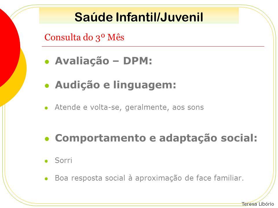 Teresa Libório Consulta do 3º Mês Avaliação – DPM: Audição e linguagem: Atende e volta-se, geralmente, aos sons Comportamento e adaptação social: Sorr