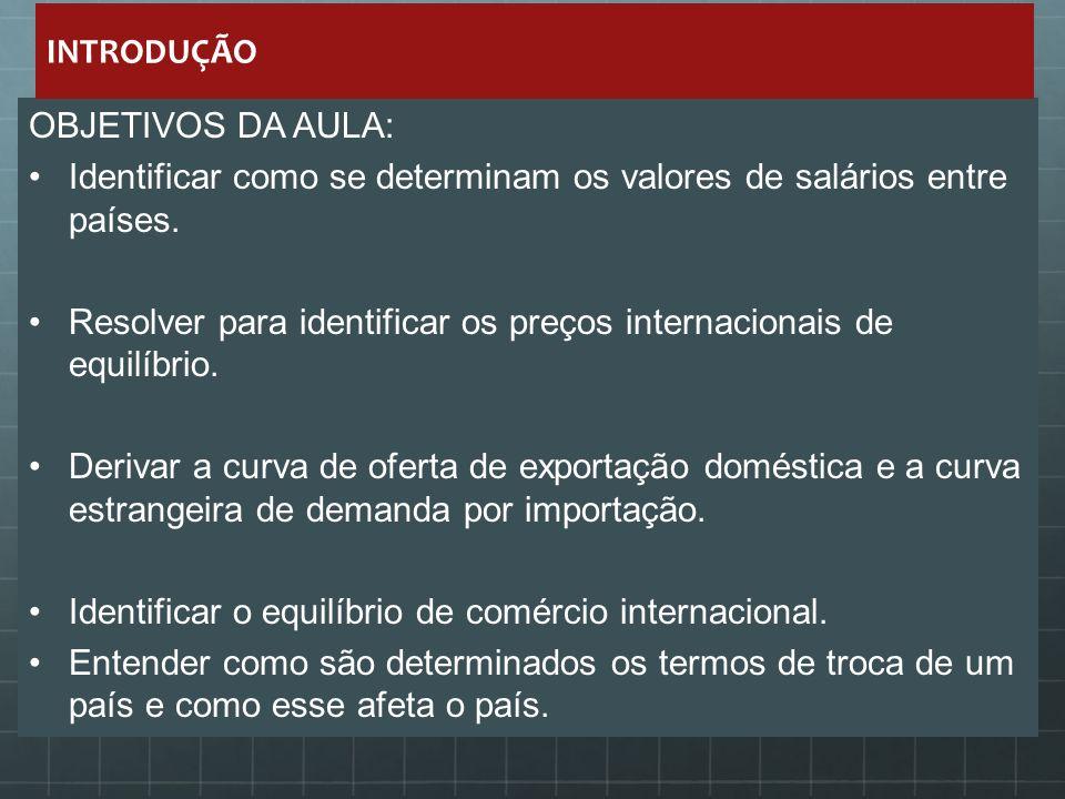 OBJETIVOS DA AULA: Identificar como se determinam os valores de salários entre países. Resolver para identificar os preços internacionais de equilíbri
