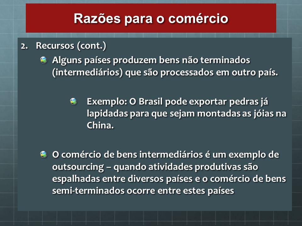 Razões para o comércio 2. Recursos (cont.) Alguns países produzem bens não terminados (intermediários) que são processados em outro país. Exemplo: O B
