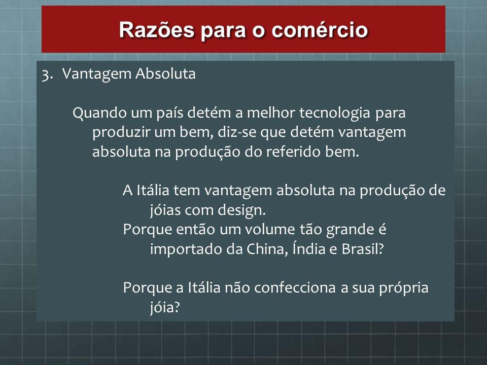 Razões para o comércio 3.Vantagem Absoluta Quando um país detém a melhor tecnologia para produzir um bem, diz-se que detém vantagem absoluta na produç