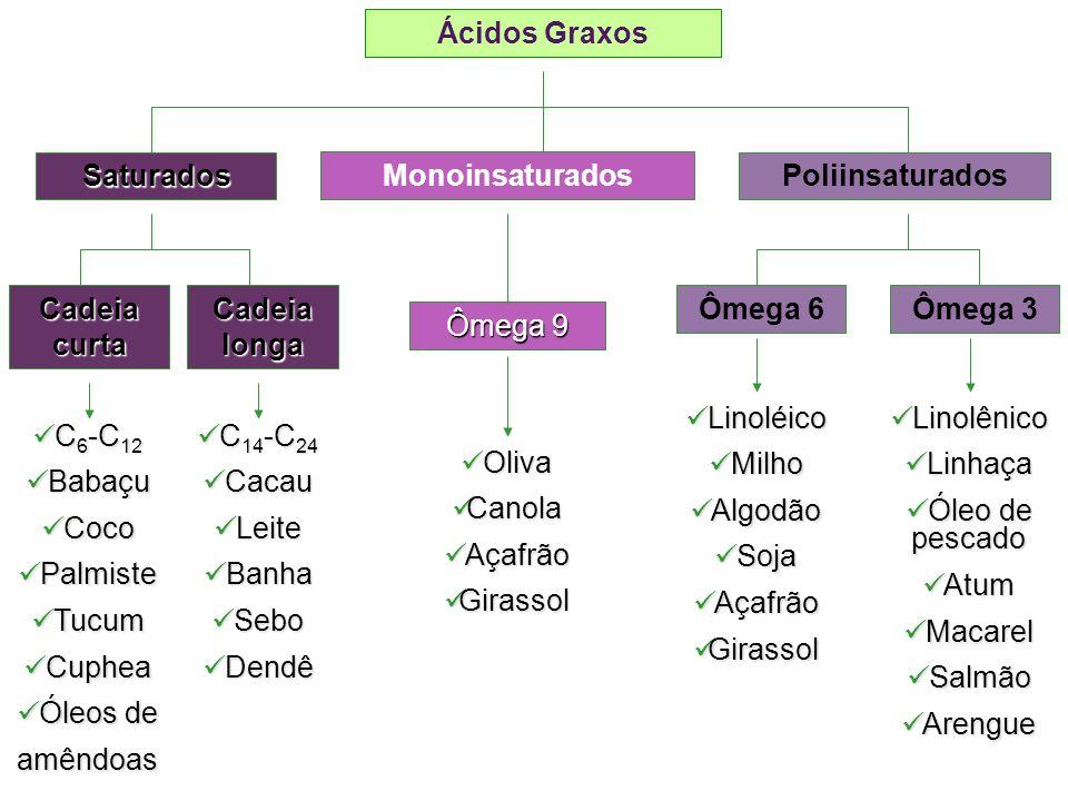 + Ácidos graxos saturados Não possuem duplas ligações; São geralmente sólidos à temperatura ambiente-maior ponto de ebulição; Gorduras de origem animal ricas em ácidos graxos saturados.