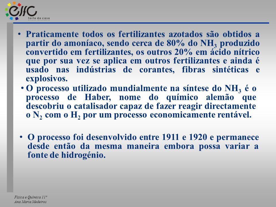 Física e Química 11º Ana Maria Medeiros Praticamente todos os fertilizantes azotados são obtidos a partir do amoníaco, sendo cerca de 80% do NH 3 prod