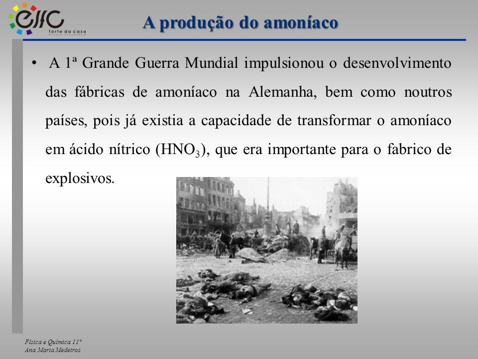 Física e Química 11º Ana Maria Medeiros A 1ª Grande Guerra Mundial impulsionou o desenvolvimento das fábricas de amoníaco na Alemanha, bem como noutro
