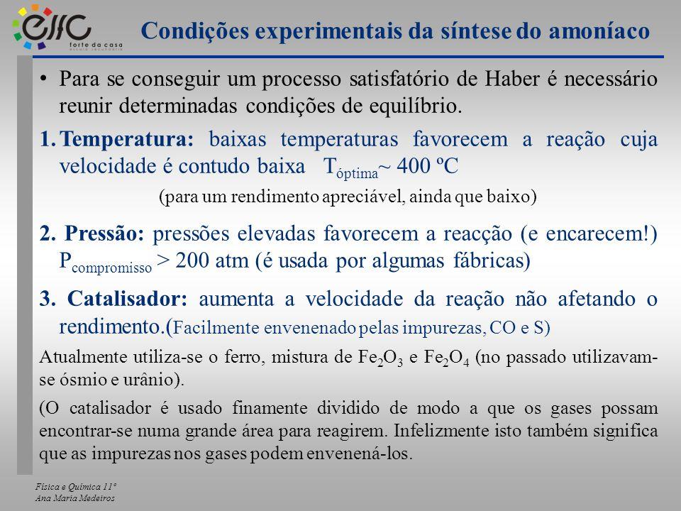 Física e Química 11º Ana Maria Medeiros Para se conseguir um processo satisfatório de Haber é necessário reunir determinadas condições de equilíbrio.