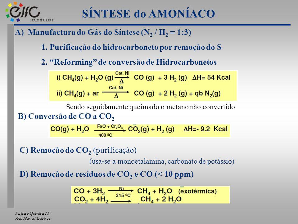 Física e Química 11º Ana Maria Medeiros A) Manufactura do Gás do Síntese (N 2 / H 2 = 1:3) 1. Purificação do hidrocarboneto por remoção do S 2. Reform