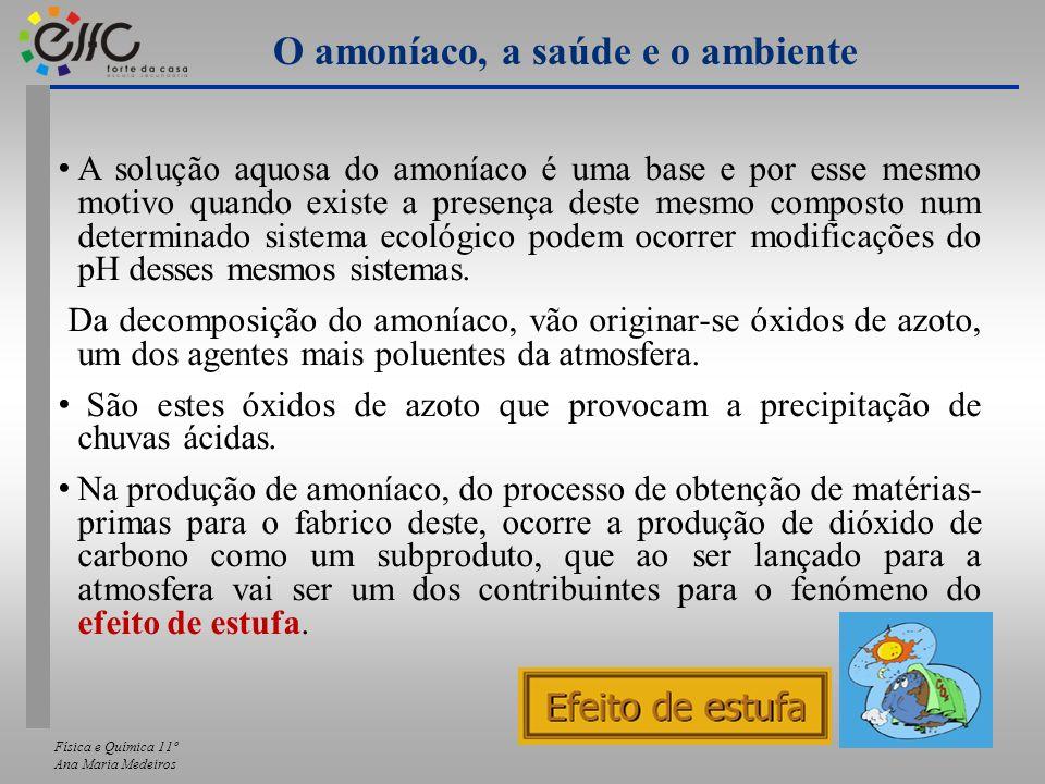 Física e Química 11º Ana Maria Medeiros A solução aquosa do amoníaco é uma base e por esse mesmo motivo quando existe a presença deste mesmo composto