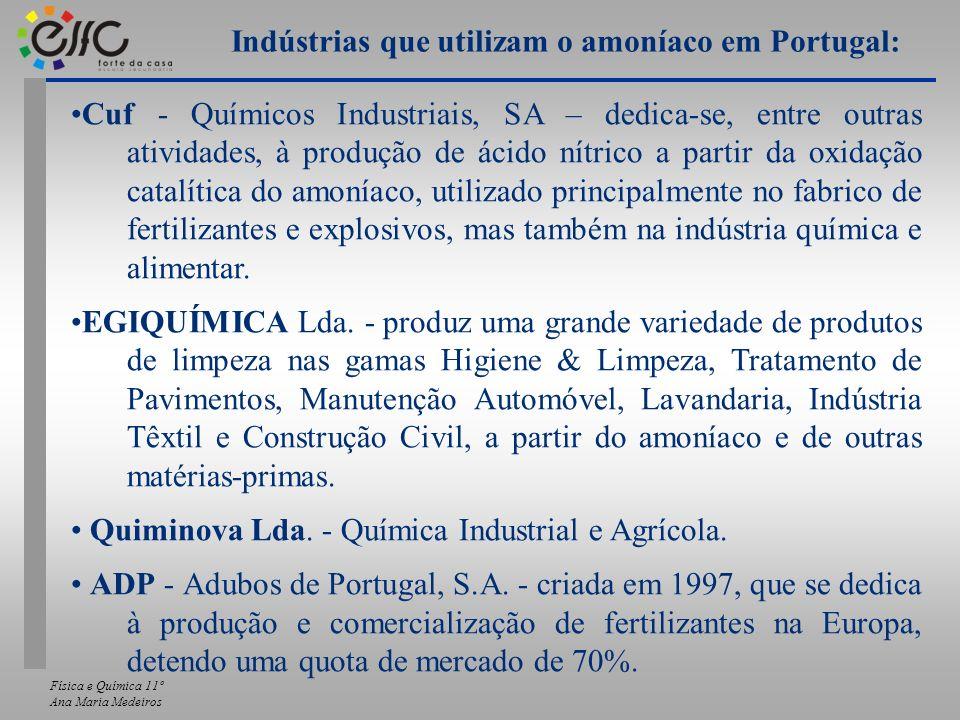 Física e Química 11º Ana Maria Medeiros Cuf - Químicos Industriais, SA – dedica-se, entre outras atividades, à produção de ácido nítrico a partir da o