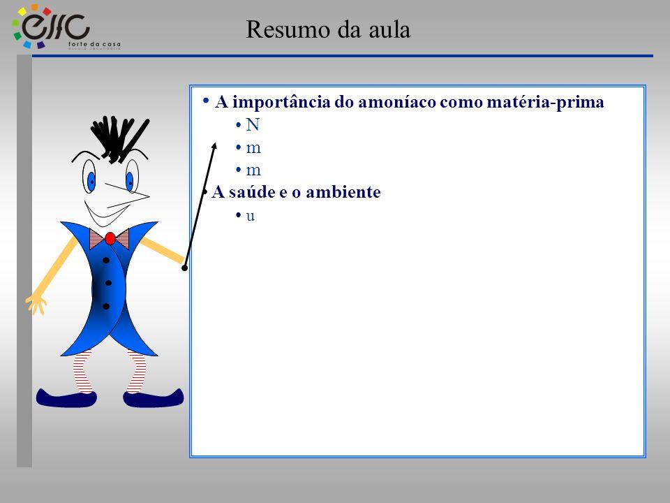 Resumo da aula A importância do amoníaco como matéria-prima N m m A saúde e o ambiente u