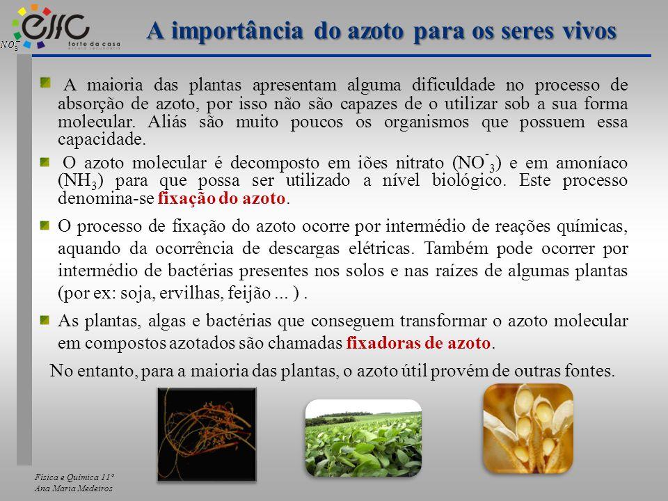 Física e Química 11º Ana Maria Medeiros A maioria das plantas apresentam alguma dificuldade no processo de absorção de azoto, por isso não são capazes