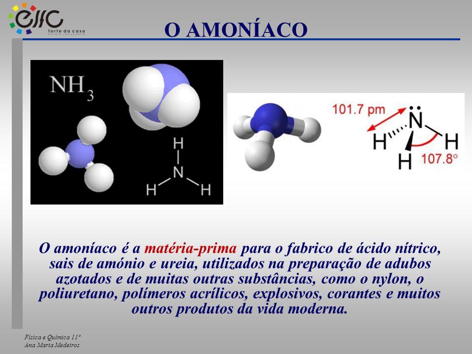 Física e Química 11º Ana Maria Medeiros O AMONÍACO O amoníaco é a matéria-prima para o fabrico de ácido nítrico, sais de amónio e ureia, utilizados na