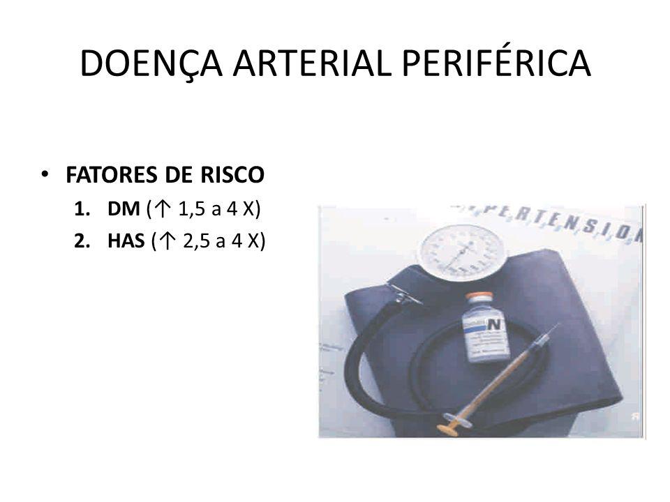 DOENÇA ARTERIAL PERIFÉRICA FATORES DE RISCO 1.DM ( 1,5 a 4 X) 2.HAS ( 2,5 a 4 X)
