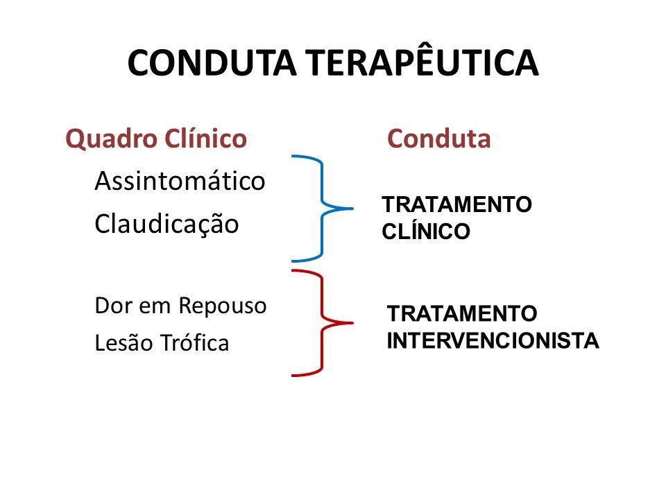 CONDUTA TERAPÊUTICA Quadro Clínico Conduta Assintomático Claudicação Dor em Repouso Lesão Trófica TRATAMENTO CLÍNICO TRATAMENTO INTERVENCIONISTA