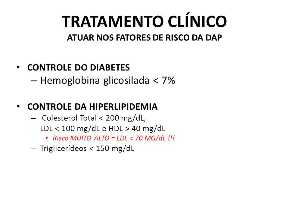 TRATAMENTO CLÍNICO ATUAR NOS FATORES DE RISCO DA DAP CONTROLE DO DIABETES – Hemoglobina glicosilada < 7% CONTROLE DA HIPERLIPIDEMIA – Colesterol Total < 200 mg/dL, – LDL 40 mg/dL Risco MUITO ALTO = LDL < 70 MG/dL !!.