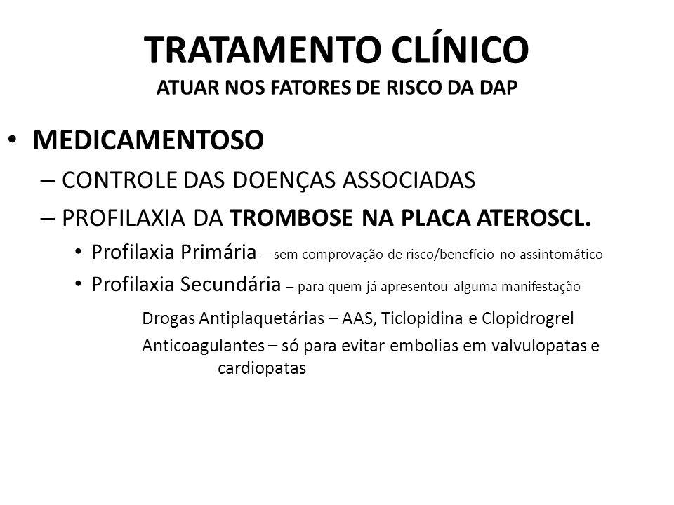TRATAMENTO CLÍNICO ATUAR NOS FATORES DE RISCO DA DAP MEDICAMENTOSO – CONTROLE DAS DOENÇAS ASSOCIADAS – PROFILAXIA DA TROMBOSE NA PLACA ATEROSCL.