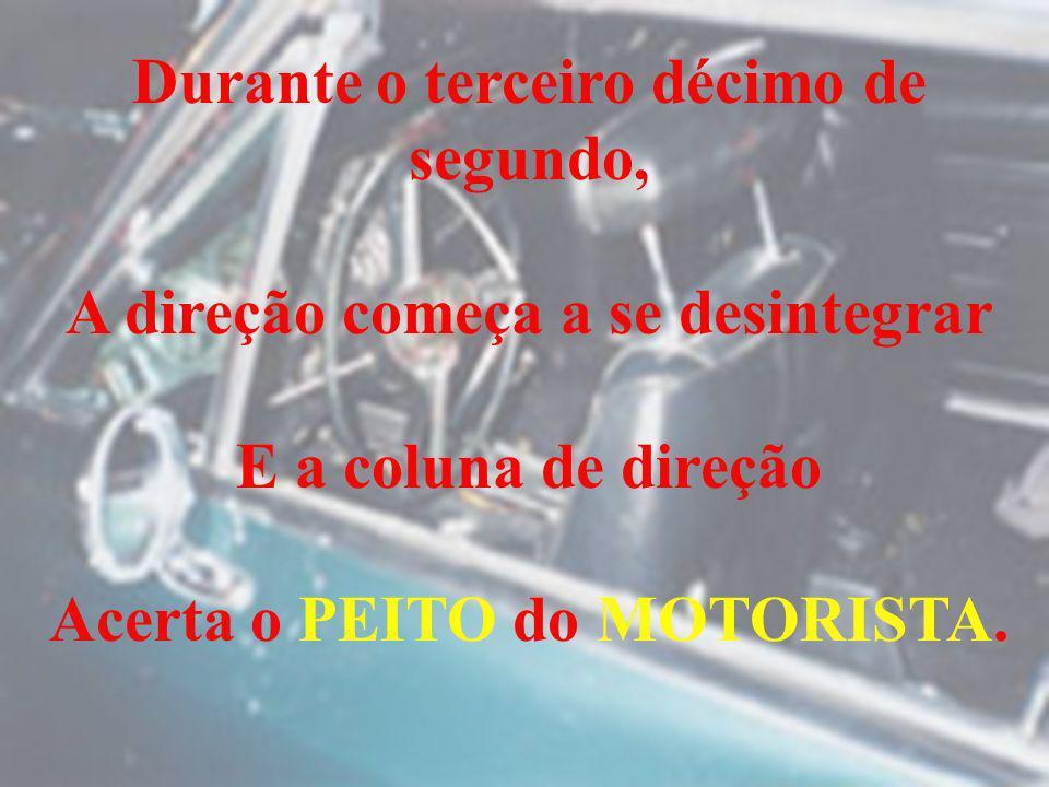 Durante o terceiro décimo de segundo, A direção começa a se desintegrar E a coluna de direção Acerta o PEITO do MOTORISTA.