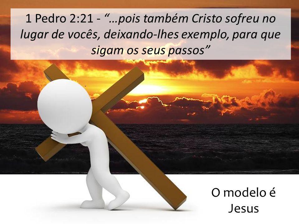 1 Pedro 2:21 - …pois também Cristo sofreu no lugar de vocês, deixando-lhes exemplo, para que sigam os seus passos O modelo é Jesus