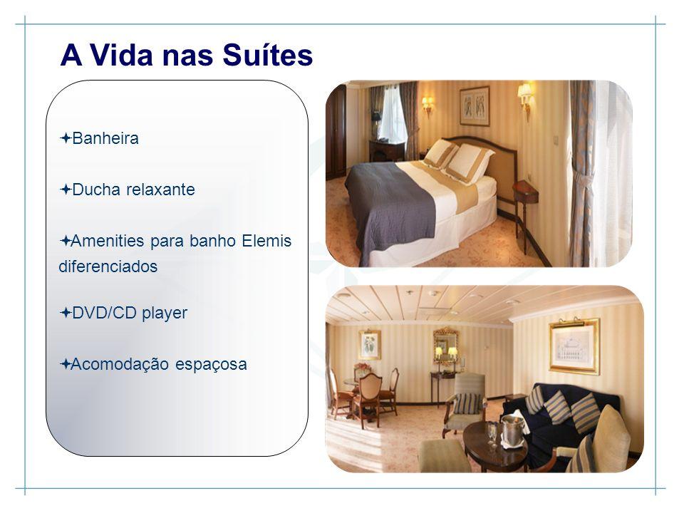 Banheira Ducha relaxante Amenities para banho Elemis diferenciados DVD/CD player Acomodação espaçosa