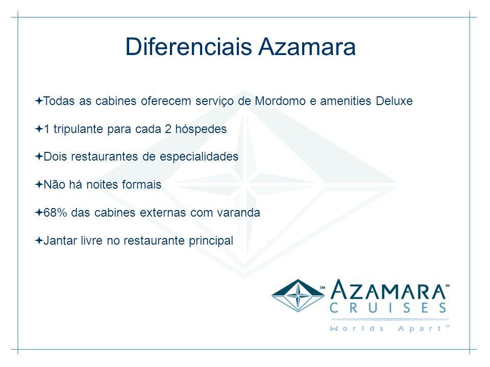 Diferenciais Azamara Todas as cabines oferecem serviço de Mordomo e amenities Deluxe 1 tripulante para cada 2 hóspedes Dois restaurantes de especialid