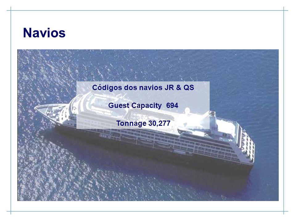Navios Códigos dos navios JR & QS Guest Capacity 694 Tonnage 30,277