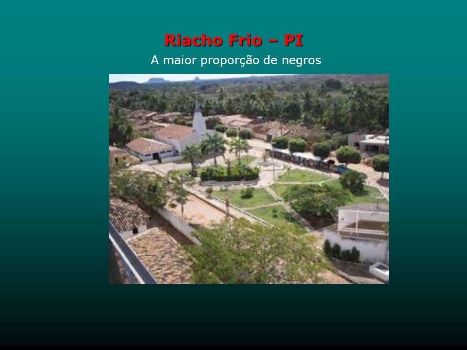 Riacho Frio A maior proporção de negros Riacho Frio, no sul do Piauí, é o município brasileiro com o maior porcentual de negros do Brasil: 62% da popu