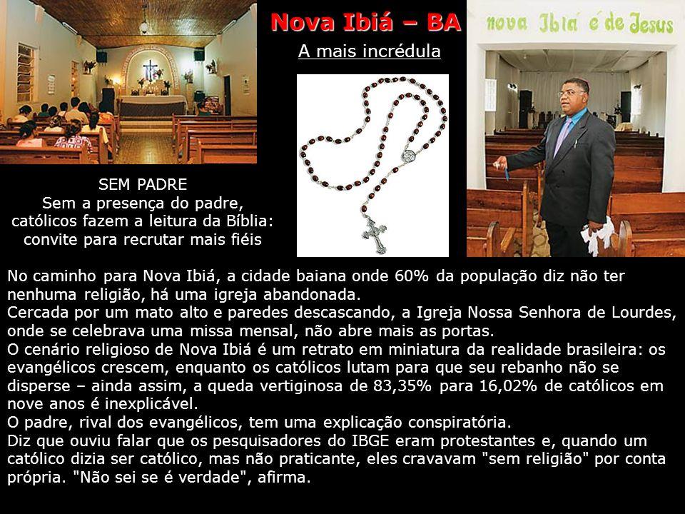 Nova Ibiá Religião A mais incrédula Sessenta por cento dos habitantes de Nova Ibiá, na zona cacaueira da Bahia, declaram não ter religião. Ganha de lo
