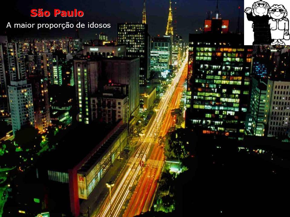 São Paulo A maior proporção de idosos Nada menos que 9% da população de São Paulo é constituída por pessoas com mais de 60 anos. Ao todo, são 970 000