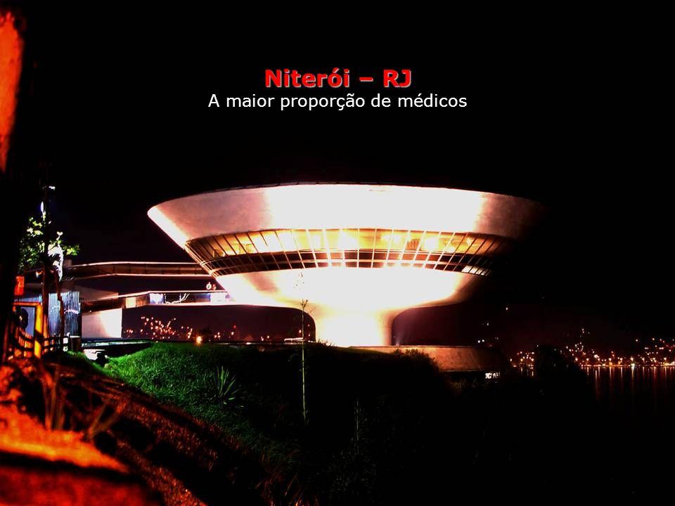 Niterói Saúde A maior proporção de médicos O Brasil precisaria ter um médico para cada 1 000 habitantes. Tem um para cada 600 – ou seja, está acima do