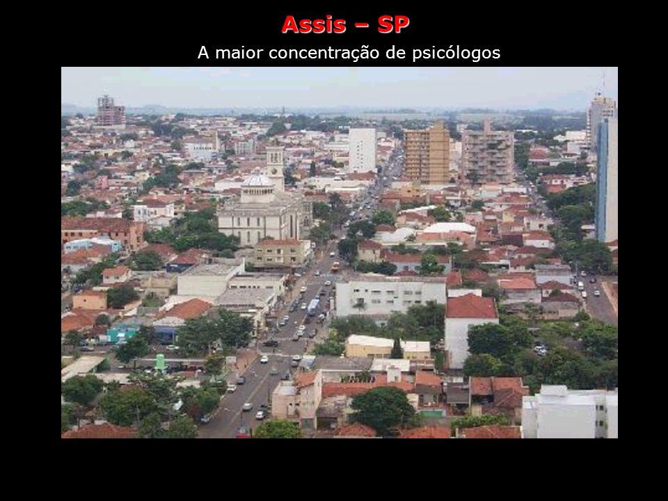 Assis Saúde A maior concentração de psicólogos Assis, no sudoeste paulista, tem um psicólogo para cada 48 habitantes, segundo o Conselho Federal de Ps