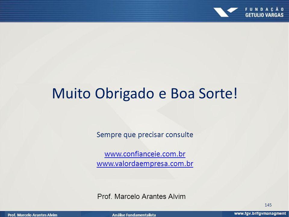 Prof.Marcelo Arantes AlvimAnálise Fundamentalista Muito Obrigado e Boa Sorte.