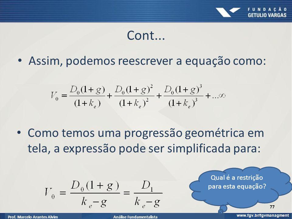 Prof.Marcelo Arantes AlvimAnálise Fundamentalista Cont...