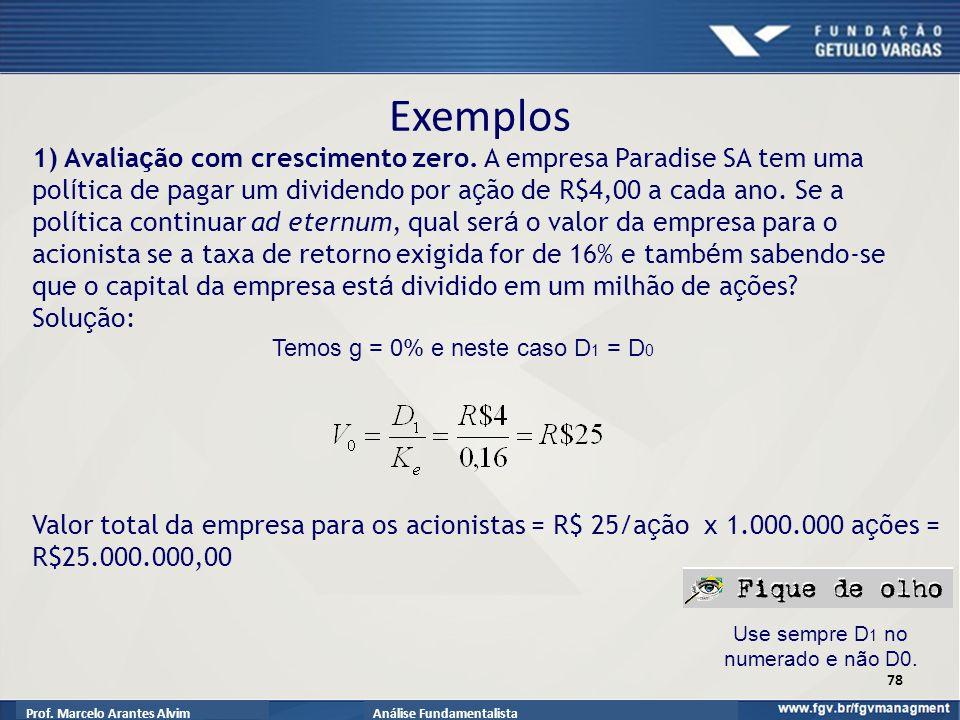Prof.Marcelo Arantes AlvimAnálise Fundamentalista Exemplos 1) Avalia ç ão com crescimento zero.
