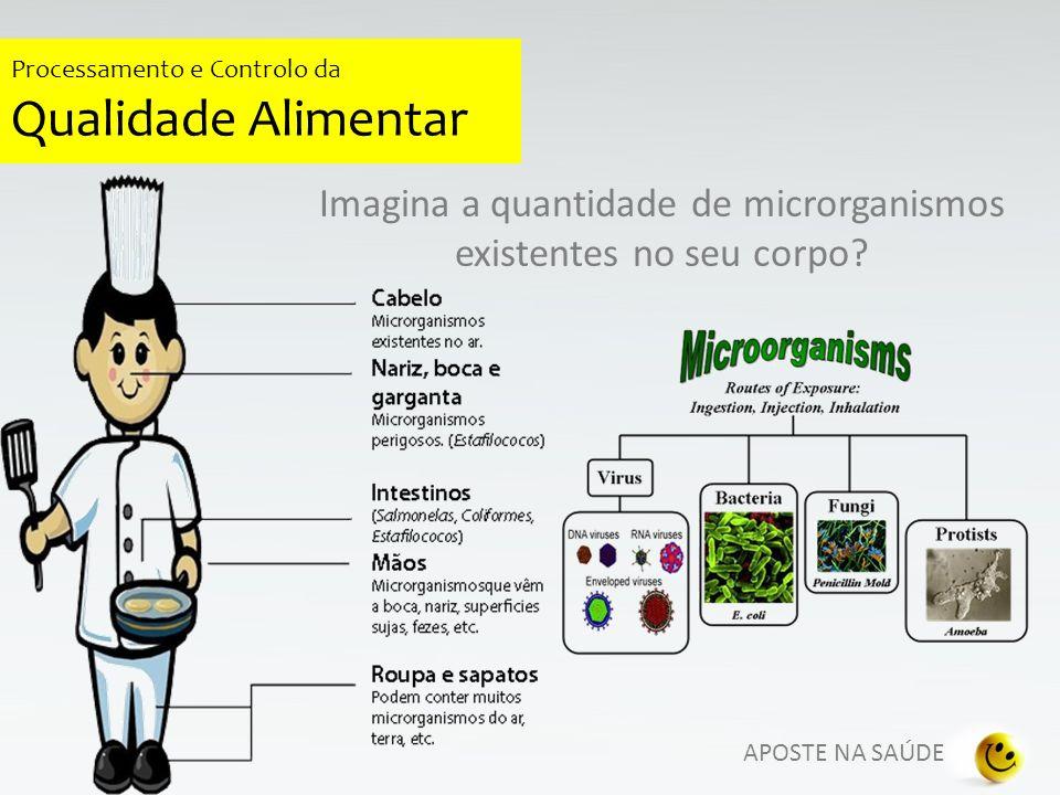 Imagina a quantidade de microrganismos existentes no seu corpo? APOSTE NA SAÚDE Processamento e Controlo da Qualidade Alimentar