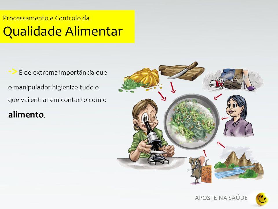 APOSTE NA SAÚDE Processamento e Controlo da Qualidade Alimentar PREPARAÇÃO SEGURA DE ALIMENTOS Utilização de roupa limpa especificamente destinada para manipular alimentos.