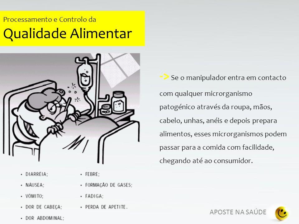 APOSTE NA SAÚDE Processamento e Controlo da Qualidade Alimentar PREPARAÇÃO SEGURA DE ALIMENTOS Não mastigar ou comer durante a realização do trabalho.