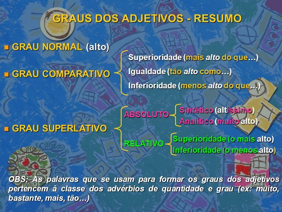 GRAUS DOS ADJETIVOS - RESUMO n GRAU NORMAL (alto) n GRAU COMPARATIVO n GRAU SUPERLATIVO Superioridade (mais alto do que…) Igualdade (tão alto como…) Inferioridade (menos alto do que…) ABSOLUTO RELATIVO Sintético (altíssimo) Analítico (muito alto) Superioridade (o mais alto) Inferioridade (o menos alto) OBS: As palavras que se usam para formar os graus dos adjetivos pertencem à classe dos advérbios de quantidade e grau (ex: muito, bastante, mais, tão…)