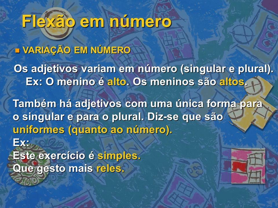 Os adjetivos variam em número (singular e plural).