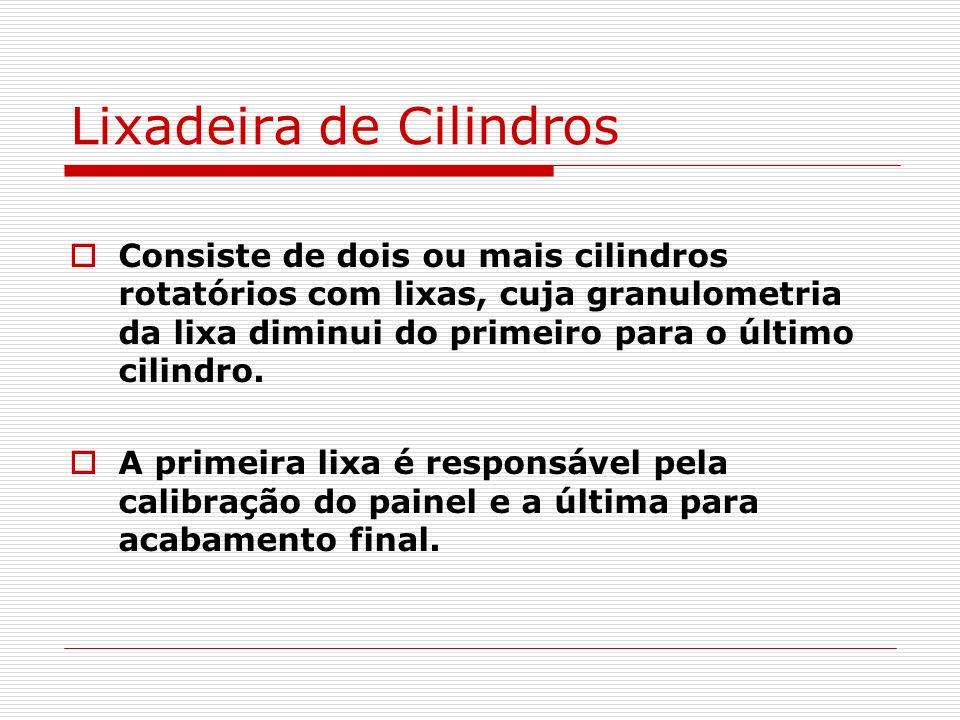 Lixadeira de Cilindros Consiste de dois ou mais cilindros rotatórios com lixas, cuja granulometria da lixa diminui do primeiro para o último cilindro.