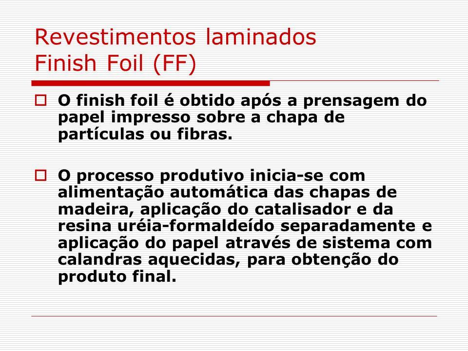 Revestimentos laminados Finish Foil (FF) O finish foil é obtido após a prensagem do papel impresso sobre a chapa de partículas ou fibras. O processo p