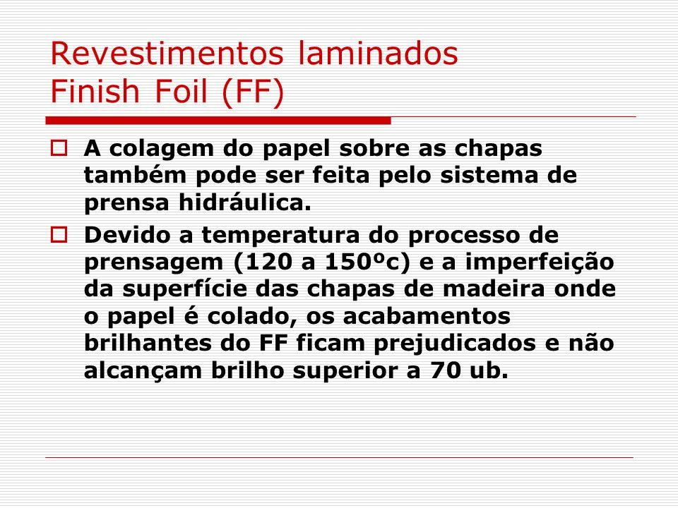 Revestimentos laminados Finish Foil (FF) A colagem do papel sobre as chapas também pode ser feita pelo sistema de prensa hidráulica. Devido a temperat