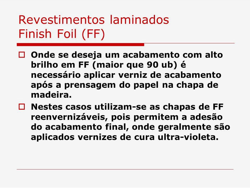 Revestimentos laminados Finish Foil (FF) Onde se deseja um acabamento com alto brilho em FF (maior que 90 ub) é necessário aplicar verniz de acabament