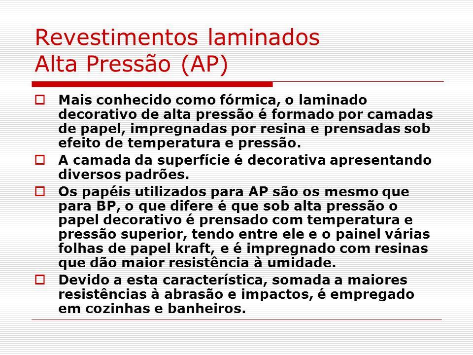 Revestimentos laminados Alta Pressão (AP) Mais conhecido como fórmica, o laminado decorativo de alta pressão é formado por camadas de papel, impregnad
