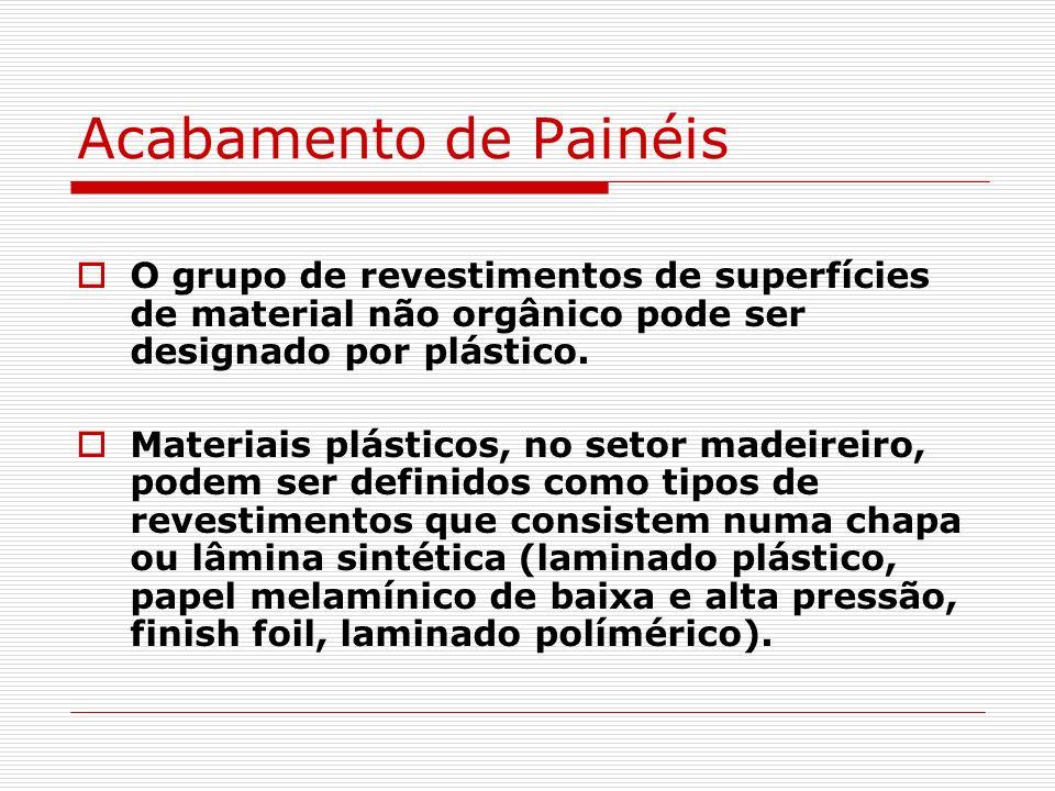 Acabamento de Painéis O grupo de revestimentos de superfícies de material não orgânico pode ser designado por plástico. Materiais plásticos, no setor