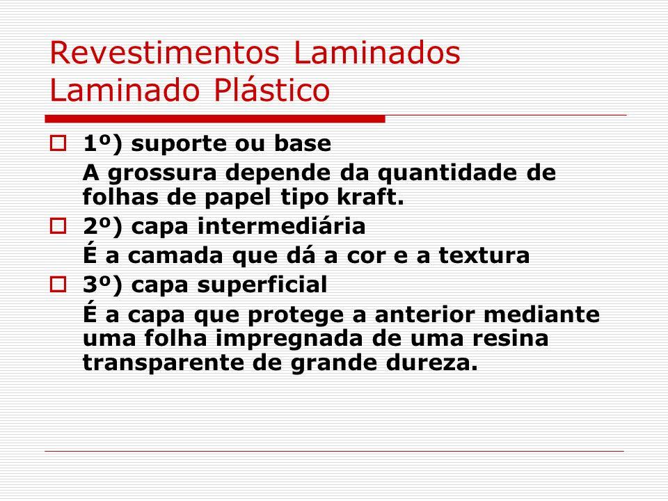 Revestimentos Laminados Laminado Plástico 1º) suporte ou base A grossura depende da quantidade de folhas de papel tipo kraft. 2º) capa intermediária É
