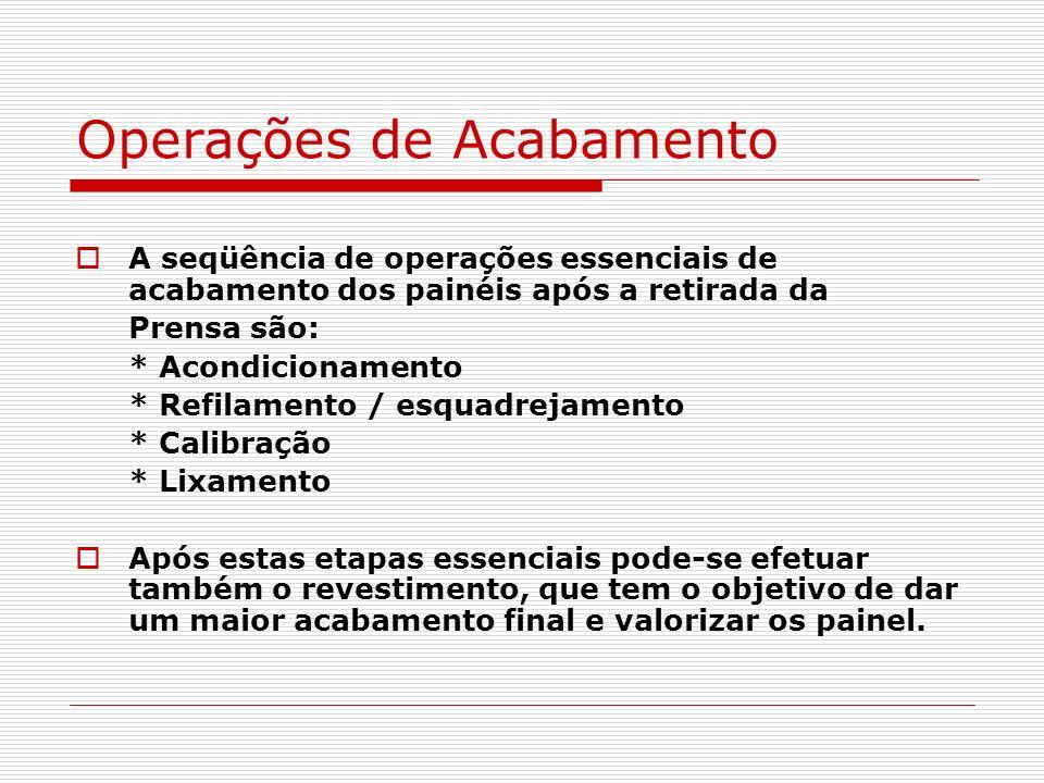 Operações de Acabamento A seqüência de operações essenciais de acabamento dos painéis após a retirada da Prensa são: * Acondicionamento * Refilamento