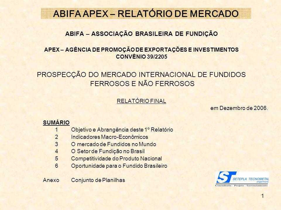 1 ABIFA APEX – RELATÓRIO DE MERCADO ABIFA – ASSOCIAÇÃO BRASILEIRA DE FUNDIÇÃO APEX – AGÊNCIA DE PROMOÇÃO DE EXPORTAÇÕES E INVESTIMENTOS CONVÊNIO 39/22